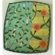 Square Tray With Turquoise and Yellow Stripe and Delicate Leaf.. $48.00, via Etsy.