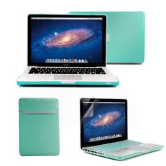 "GMYLE(R) 4 in 1 Robin Egg Blue Turquoise Rubberized (Rubber Coated) Hard Case Cover for 13.3"" inches Macbook Pro - with Robin Egg Blue Turquoise Soft Sleeve Bag and Silicon Keyboard Protector - 13 inches Clear LCD Screen Protector - by GMYLE, http://www.amazon.com/dp/B00D2J8558/ref=cm_sw_r_pi_dp_Thqpsb0PFQWMR"