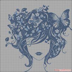 Девочки, может у кого-то есть схема Девушка-лето именно в синем цвете. те схемы которые у меня есть не очень разборчивые!