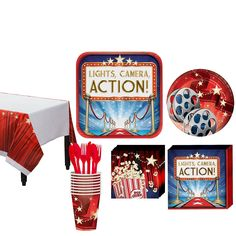Hollywood Movie Night Tableware Kit for 16 Guests | Party City