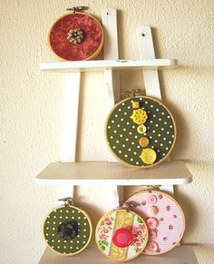 Embroidery hoop art display