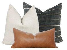 Leather Throw Pillows, Leather Pillow, Brown Couch Throw Pillows, Modern Throw Pillows, Modern Decorative Pillows, Neutral Pillows, Black Pillows, Accent Pillows, Pillows