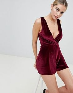 2aa7eed6b83d Fashionkilla plunge front playsuit in berry velvet. My Wish ListMoraPlaysuitBerriesFashion  OnlineRompersVegasAsosJumpsuits