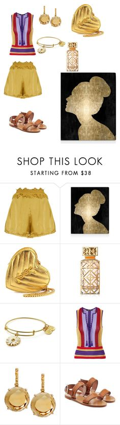 """""""L❤️ve"""" by mrsagosto ❤ liked on Polyvore featuring Kori, Oliver Gal Artist Co., Yves Saint Laurent, Tory Burch, Alex and Ani, Roberto Cavalli, Plukka and RED Valentino"""