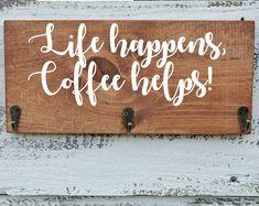 Coffee cup holder coffee cup rack coffee mug rack 40 or 48 Coffee Cup Rack, Coffee Mug Display, Coffee Mug Holder, Coffee Cups, Jacobean Stain, Starbucks Coffee, Mug Rack, Mugs, Etsy