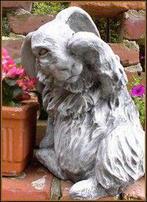 Sitting Angora Rabbit Garden Statue Waving Hi. $78.00