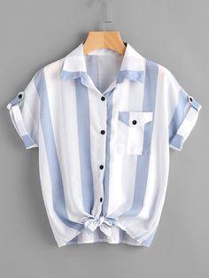 #Spring #AdoreWe #ROMWE - #ROMWE Contrast Striped Roll Tab Sleeve Knotted Hem Shirt - AdoreWe.com