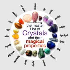 "The Master List of Crystals and their Magical Properties - Magical Recipes Online <script asyncsrc='//pagead2.googlesyndication.com/pagead/js/adsbygoogle.js'></script> <script> (adsbygoogle = window.adsbygoogle || []).push({ google_ad_client: ""ca-pub-0814936246415499"", enable_page_level_ads: true }); </script>"