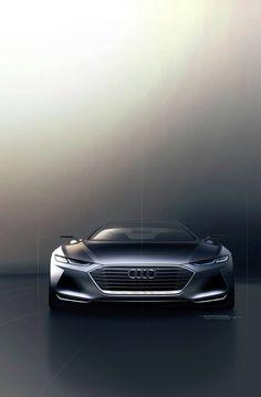 Audi Sketch 전체적으로 낮고 넓은 형태는 날렵한느낌과 묵직함을 동시에 준다. 앙우디 특유의 라디에이터 그릴은 더욱 묵직함을 더해준다