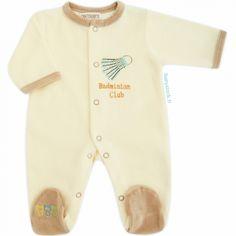 3809abd22dc78 Pyjama dors bien pour bébé garçon en velours crème   beige brodé Volant  Badminton Les Chatounets à 12