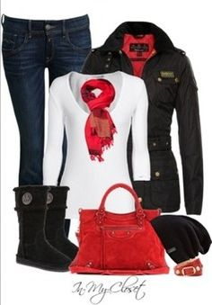 classic black with passionate red & ugg boots outfit