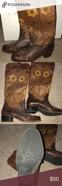 Lucky Brand cowgirl boots Super cute, leather, Lucky Brand cowgirl boots. Worn once for senior pictures!! Size 8.5. Amazing leather details. Super comfortable! Lucky Brand Shoes Heeled Boots