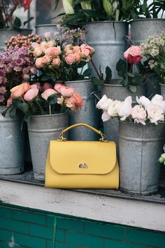 Daisy Bag in Indian Yellow Structured Bag, Classic Handbags, Pastel Colors, Daisy, Indian, Yellow, Leather, Style, Mantle