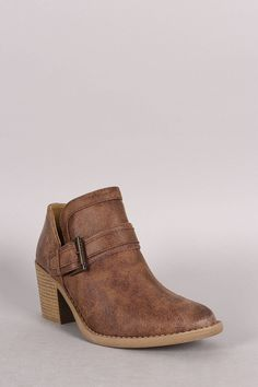 Qupid Buckled Cowgirl Chunky Heeled Booties