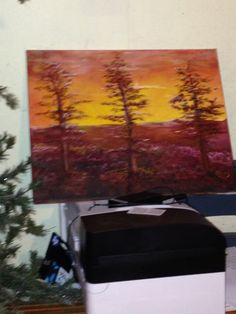 Autumn over looking a canyon. Oil on canvas, artist: Kare Dreher