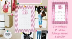 Free Printable Monogrammed Calendar {January} Just type in your initials!