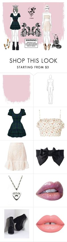 """""""18:45"""" by xxalonegirlxx ❤ liked on Polyvore featuring Hell Bunny, Flannel, GE, Moonchild, Paul Mitchell, Lime Crime and Madewell"""
