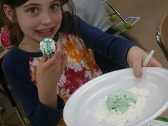 Lime sherbet on whipped cream for green eggs....