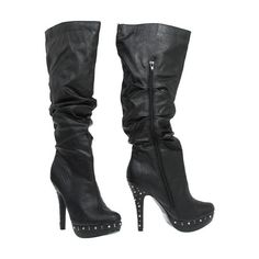 15DOLLARSTORE.COM - FAHRENHEIT Studded Platform & Heel Boots (Black) ($15) ❤ liked on Polyvore featuring shoes, boots, heels, sapatos, zapatos, fahrenheit boots, black platform boots, platform boots, black heeled shoes and heeled boots