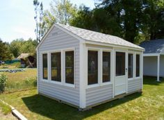 At PWI a shed can be anything you dream of it being. This is a Cape Ann style screen house with Sterling siding and Dual Gray roofing.
