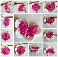 Beautiful Amigurumi Doll Crochet Pattern Ideas and Images Part amigurumi free patterns; amigurumi for beginners; Crochet Butterfly Free Pattern, Crochet Flower Patterns, Crochet Motif, Crochet Flowers, Crochet Stitches, Cute Crochet, Crochet Crafts, Crochet Projects, Borboleta Crochet