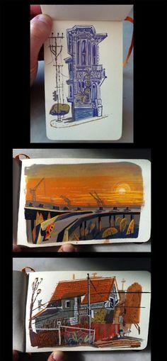 Matthew Cruickshank's little sketchbook paintings
