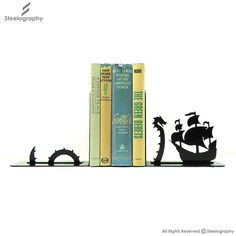 Dragon Ship Bookend – Steelography