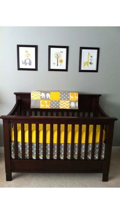 Gender neutral baby room idea. love the bedding!