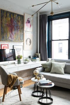 Designing A Small Living Room Space. A wall mounted console that runs the length of room serves as both desk  and display space provides a generous work area 5 Double Duty Room Combos Always Work Apartment therapy