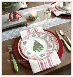 Johnson Bros. Old British Castles Pink-French Farmhouse Vintage Christmas Dining Room- From My Front Porch To Yours