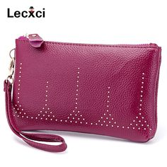 Lecxci Lichee Pattern Clutch Wallet Purse with Strap, handbags Leather Wristlets Phone Holder for Women