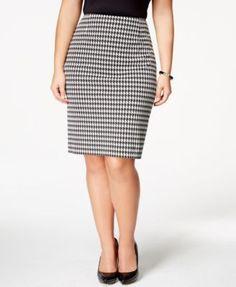 Kasper Plus Size Houndstooth Pencil Skirt | macys.com