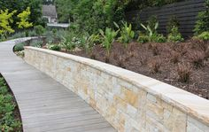 Love the retaining wall! Love the retaining wall! Sandstone Color, Sandstone Wall, Stone Cladding, Wall Cladding, Living Pool, Outdoor Living, Garden Retaining Wall, Retaining Walls, Interior Cladding