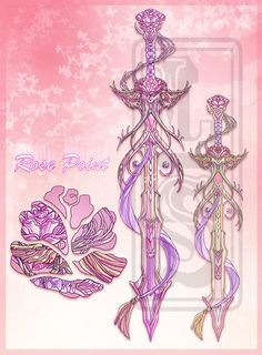 Rose Point Sword [Auction: CLOSED] by LuckySquid.deviantart.com on @deviantART Cosplay Weapons, Anime Weapons, Fantasy Weapons, Armas Ninja, Arte Fashion, Sword Design, Weapon Concept Art, Anime Outfits, Character Outfits