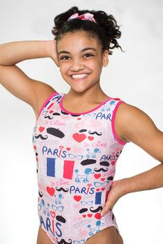 How fabulous is this chic, Paris inspired Leo? Girls Gymnastics Leotards, Gymnastics Outfits, Laurie Hernandez, Gymnastics Posters, Preteen Girls Fashion, City Vibe, Olympians, Olympic Games, Dance Costumes