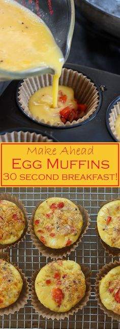 These super easy egg muffins are grain free, and a great way to have a hot, quick and protein packed breakfast on a busy morning! muffins Healthy Breakfast Make Ahead Egg Muffins Paleo Egg Muffins, Healthy Breakfast Muffins, Healthy Muffin Recipes, Vegetarian Breakfast Recipes, Vegetarian Eggs, Breakfast Cups, Make Ahead Breakfast, Low Carb Breakfast, Breakfast Ideas