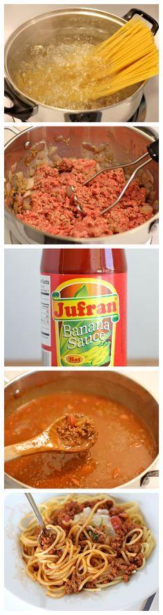 """Pinoy Spaghetti - Filipino-style spaghetti with a wonderful sweetness to it using """"banana ketchup""""!"""