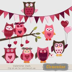 Valentine Owls clip art,  perfect for use in cards or invitations.   10 graphics in total.  Clip art is shown proportional to size on a 12X12 background:  Owls are approximately 2.5 inches tall, branch is 7 inches wide, banner is 12 inches wide. Watermark on preview only.
