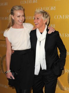 Pin for Later: Ellen DeGeneres and Portia de Rossi Have the Look of Love Down Portia shared a laugh with Ellen at CoverGirl's anniversary party in LA in January Ellen Degeneres And Portia, Ellen And Portia, Celebrity Couples, Celebrity News, Portia De Rossi, The Ellen Show, Looking For Love, Celebs, Celebrities