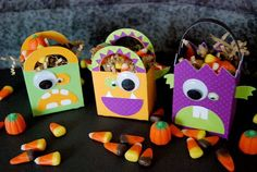 DIY Monster Party Favors. Decorate colorful bags with googly eyes and cardstock paper to create fun take home bags for kids.