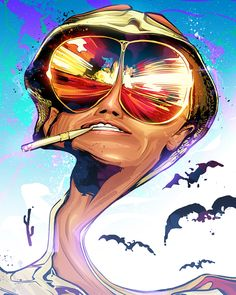 Fear and Loathing in Las Vegas fanart by Nikita Abakumov Techno, Vegas Tattoo, Psy Art, Fear And Loathing, Hippie Art, Red Aesthetic, Art For Art Sake, Scary Movies, Psychedelic Art