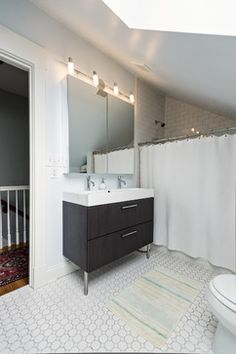 Black vanity with white top, but with ALL WHITE octagon dot floors. I like this. Louisville - Rock Paper Hammer