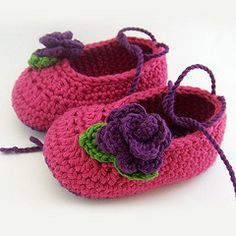 crocheted booties with flower