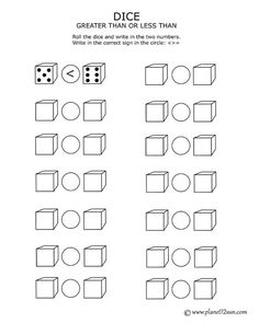 Free printable worksheet. Dice - greater, less than, equal to.