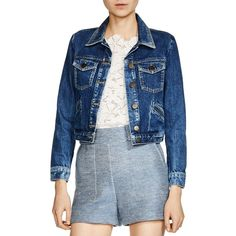 Maje Viva Denim Jacket ($290) ❤ liked on Polyvore featuring outerwear, jackets, denim, distressed jacket, distressed denim jacket, maje, maje jacket and jean jacket