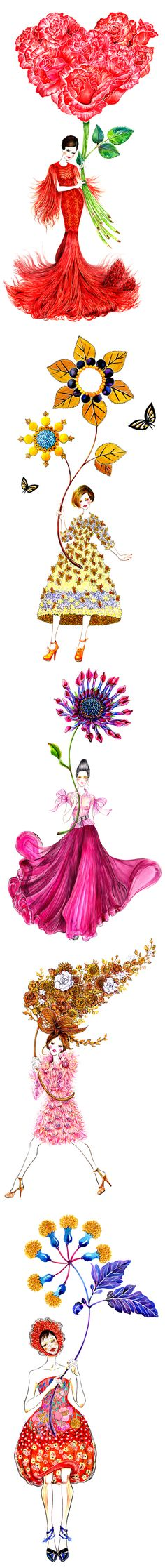 Flower Mood | Fashion Illustration Series by Sunny Gu #fashion #illustration #fashionillustration