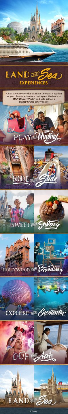 """Chart a course for the ultimate two-part vacation as you plan an adventure that spans the lands of Walt Disney World and sets sail on a Disney Cruise Line voyage! Here's a glimpse at these exciting """"Land & Sea"""" experiences."""