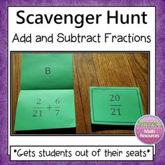 Add and Subtract Fractions scavenger Hunt is motivating and gets students out of their seats. Students love this activity because they get to move around, work at their own pace, think its a game, and get immediate feedback. - Simone's Math Resources #SimonesMathResources