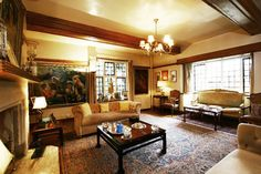 I love all of the warms tones of the woodwork and Persian rugs.