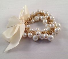 Ribbons and Pearls Cluster Bracelet - Chunky, Satin, Pearls, Wedding, Bridal, Bridesmaid, Prom, OOAK